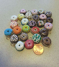 DONUTS Polymer Fimo Clay Charms Beads Pendants Custom Order