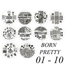 Brand New BORN PRETTY #01-#10 Nail Art Stamp Stamping Template Image Plates