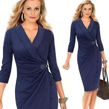 New Sexy Women V Neck Ruched Wrap Tunic Bodycon Party Sheath Pencil Midi Dress J