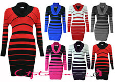 NEW WOMENS LADIES SEXY STRIPEY KNITTED CASUAL LONG JUMPER MINI DRESS TOP 8-16