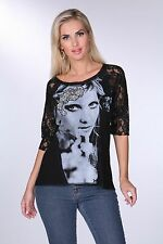 Krista Lee Jordana Graphic Black/Gray T-Shirt Top Lace Sleeves Embroidery Beads