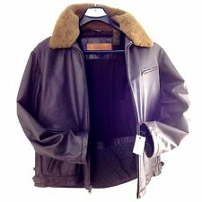 TIMBERLAND COWHIDE DISTRESSED LEATHER MEN BOMBER JACKET, V46692 L, CHOCOLATE