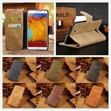 Genuine Cow Leather Flip Credit Card Slot Stand Cover Case Wallet For Phone