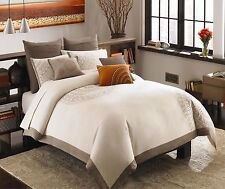 3 Pieces Cotton Embroidery Taupe * MIRACLE * Duvet Set KING/QUEEN/FULL