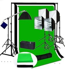 Studio 4 socket 5 softbox lighting kit black white green backdrop Support kit