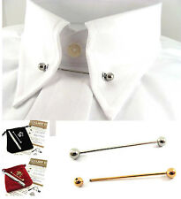 Gold or Silver Tone Collar & Tie Pin/Bar plus 10 Eyelets 46mm Barbell Ball Ended