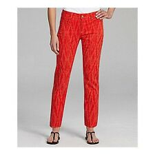 NEW NYDJ Not Your Daughters Jeans pants ALISHA ANKLE IKAT PRINT cayenne red