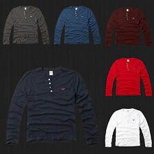 New HOLLISTER By Abercrombie Men Buena Park Henley Long Sleeve T Shirt  Tee NWT