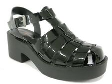 NEW $79 I LOVE BILLY Cassus Womens Platform Heels Black Patent Chunky Sandal