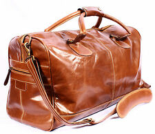 New Chestnut Weekend Holdall Sports Travel Gym Adjustable Strap 100% Leather Bag