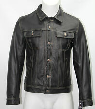 Mens 1280 Black Trucker Stylish Classic Casual Short Real Hide Leather Jacket