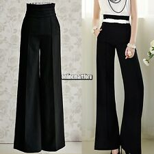 Womens Stylish Wide Leg High Waist Pants Long Palazzo Slouchy Trousers ONMF