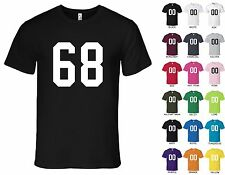 Number 68 Sixty Eight T-Shirt Tee - American Apparel 100% Cotton, S, M, L, XL, 2