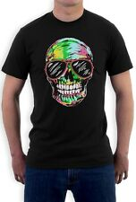 Neon Cool Skulls T-Shirt Suger skull Fashion Rave DJ Club wear EDM Graphicx Tee