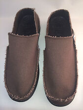 CROCS mens SANTA CRUZ Slip on Loafers EXPRESSO BROWN Canvas shoes
