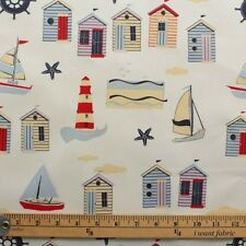 VINTAGE BEACH HUTS SEASIDE BOATS WIPE CLEAN PVC OILCLOTH TABLECLOTH PER METRE