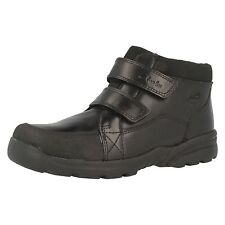 Boys Clarks Diggy Up GTX Black Leather Smart Double Velcro Strap Ankle Boots
