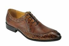 Mens Real Leather Brown Lace up Italian Style Formal Dress Wedding Office Shoes