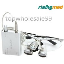 Dental Surgical Binocular Loupes 2.5X 420mm / LED Head Light Lamp / Battery hot+