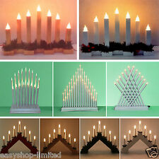 Pre-Lit Wooden Candle Bridge Window Table Christmas Tree Decoration Light Xmas