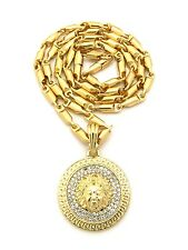 "Gold Medusa Charm Pendant with 24"" Bullet Chain Necklace Mens Fashion Jewelry"
