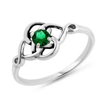0.25 Carat Emerald Celtic Trinity Knot Ring in Sterling Silver