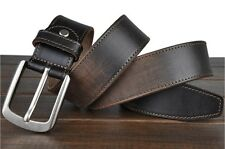 Mens Genuine leather Cowhide Vintage Brown Classic Jean Pin Buckle Dress Belts