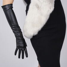 """Long Gloves Faux Leather 19"""" 50cm Opera Evening Black White Brown Touchscreen"""