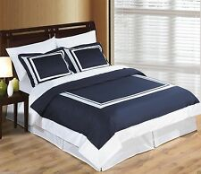 Wrinkle Free Egyptian Cotton Hotel Navy Blue and White Duvet Cover Bedding Set