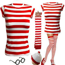LADIES GIRLS WHERE'S WALLY STYLE RED AND WHITE STRIPED T-SHIRT HAT GLASSES SOCKS