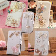 Hot Luxury 3D Bling Crystal Rhinestone Flip Wallet PU Leather Phone Case Cover