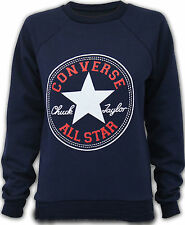 WOMEN LADIES CONVERSE PRINT SWEATSHIRT JUMPER LONG SLEEVE TOP SIZE 8-10, 12-14