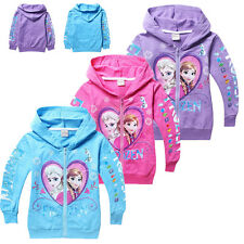 Cartoon Frozen Elsa&Anna Top Kids Girls Children Zipper Sweatshirts Hoodies Coat