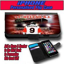 PERSONALISED ST HELENS RL RUGBY LEAGUE iPHONE 4 s 5 s 5 c LEATHER FLIP CASE