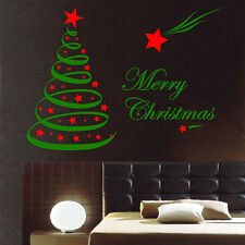 2 COLOURS CHRISTMAS TREE DECORATION VINYL STICKERS/DECALS WALL/ WINDOW SHOP ,