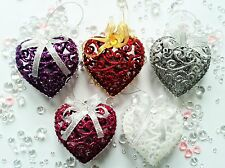 Xmas Christmas Baubles Decorations Tree Ornaments Chabby Glitter Chic Hearts 6PK