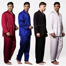 Mens Silk Satin Pajamas Pajama PJS Sleepwear Set S,M,L,XL,2XL,3XL