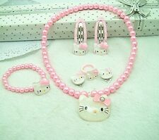 Sweet HelloKitty Necklace ,Bracelet,Earring,Hair Clip&Ring Girl Jewelry Gift Set