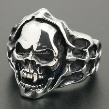 Solid 316L Stainless Steel Skull Bone Mens Biker Rocker Ring 6L003C