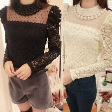 Women Sheer Sleeve Embroidery Lace Crochet Shirt Top Blouse Bead Pearl Neck CO99