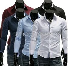 Men's Long Sleeve Slim Personalized Pointed Collar Shirt 5 Color W1993 DAU