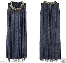NAVY BLUE SHIMMER CHARLESTON FLAPPER FRINGE TASSEL PARTY EVENING DRESS S/M M/L