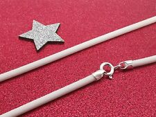 "2.5mm White Silicone Rubber Cord & Sterling Silver Necklace 14"" 16"" 18"" 20"" 22"""
