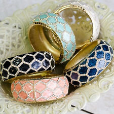 Hinged Pave Crystal Bracelet Hexagon Pattern - Boutique Goods FAST Free Shipping