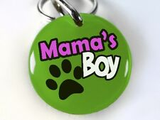 Mama's Boy green paw funny round cute dog cat charm custom pet tag by ID4PET