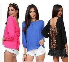 Fashion Women's Chiffon Long Sleeve Shirt Sexy Leopard Loose Tops Blouse T-Shirt