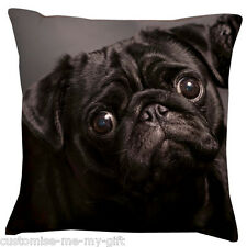 Black Pug Face Cushion -  Add your own text choice | Gift | Cute dog
