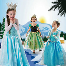 Frozen Elsa Anna Costume Disney Princess Dresses Girls Fancy Outfit Long Dress!~