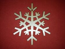 10 x SNOWFLAKE n3 plain UNPAINTED WOODEN CHRISTMAS TREE HANGING GIFT DECOR TAG