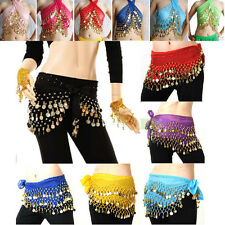 Hot Selling Belly Dance Skirt Scarf Hip Wrap Belt Chiffon silver golden coins